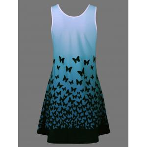 Plus Size Butterfly Print Ombre A Line  Tank Dress - BLUE GREEN 5XL