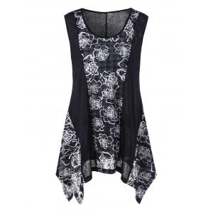 Floral Asymmetrical Plus Size Tank Top - White And Black - 5xl