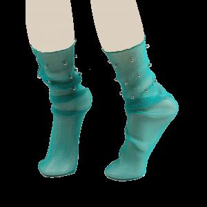 Lurex Yarn Fishnet Crew Socks with Beaded