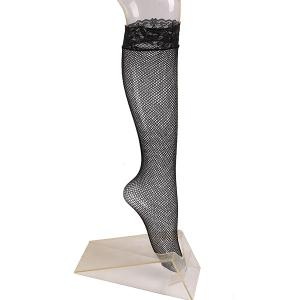 Lace Trim Embellished Fish Net Knee Socks - Black - M