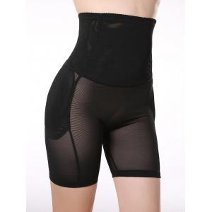 See-Through Padded High Waist Boyshorts - Black - 2xl