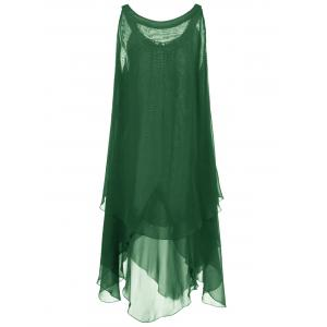 Plus Size Chains Detail Overlap Flowy Tent Dress - GREEN 5XL