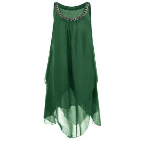 Plus Size Chains Detail Overlap Flowy Tent Dress