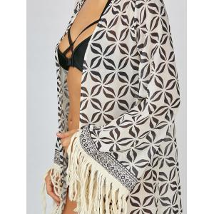 Summer Fringe Chiffon Floral Long Kimono Cover-Up - PINK/GREY M
