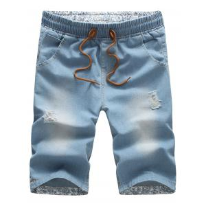 Distressed Drawstring Waist Loose Denim Shorts - Light Blue - Xl