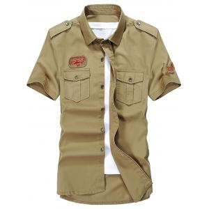 Patched Short Sleeve Cargo Military Shirt