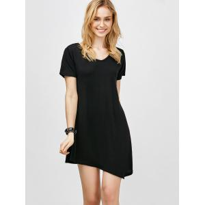Asymmetric Hem Short Sleeve T Shirt Dress - BLACK XL