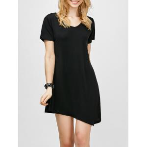 Asymmetric Hem Short Sleeve T Shirt Dress