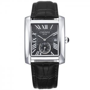 CHENXI Roman Numerals Analog Rectangle Watch - Black + Silver - Xl