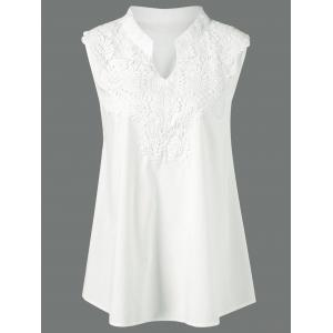 Plus Size Lace Insert Crochet Tank Top