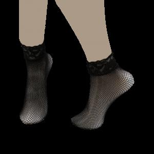 Lace Trim Embellished Fish Net Over Short Ankle Socks - Black - One Size