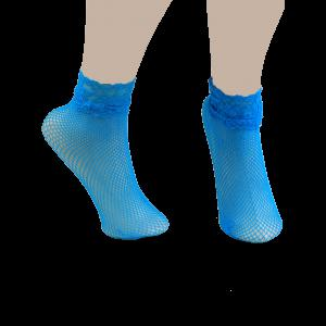 Lace Trim Embellished Fish Net Over Short Ankle Socks - Blue