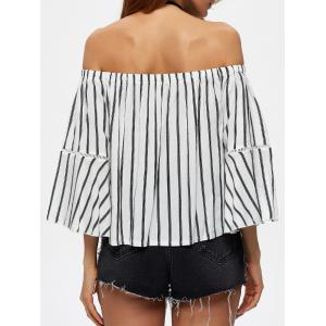 Flare Sleeve Off The Shoulder Striped Blouse -