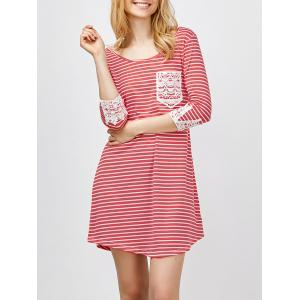 Lace Panel Striped A Line Mini Casual Dress - Red - Xl