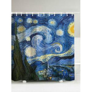 Oil Painting Starry Sky Print Waterproof Shower Curtain - Blue - 180*200cm