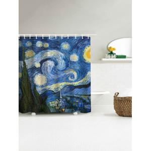 Oil Painting Starry Sky Print Waterproof Shower Curtain - BLUE 180*200CM