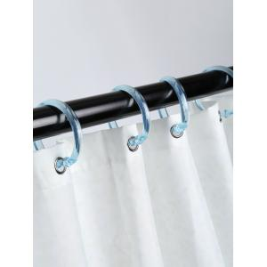 12 Pcs Plastic Round Shape Shower Curtain Hooks - LIGHT BLUE
