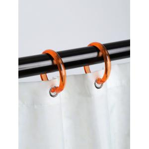 12 Pcs Plastic Round Shape Shower Curtain Hooks - ORANGE