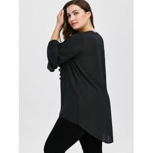 Plus Size Ruffle Front Flare Sleeve Lace Up Blouse - BLACK 5XL