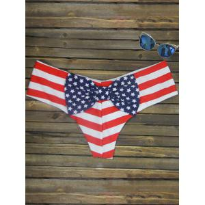 Bowknot Print Swim Briefs - Stripe Pattern Red Color - S