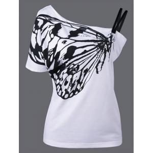 Skew Collar Butterfly Print T-Shirt