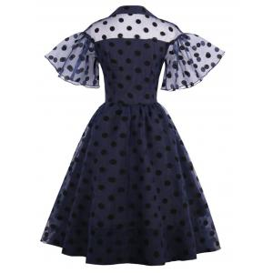 Polka Dot Vintage Pin Up Dress - PURPLISH BLUE XL