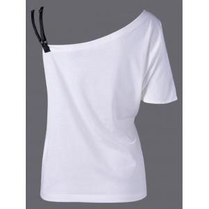 Skew Collar Butterfly Print T-Shirt - WHITE AND BLACK M