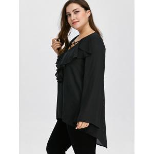 Plus Size Ruffle Front Long Flare Sleeve Lace Up Blouse - BLACK 2XL