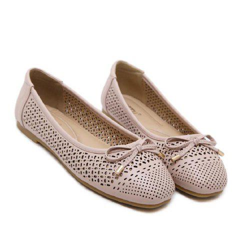 Discount Bow Hollow Out Flat Shoes NUDE PINK 40