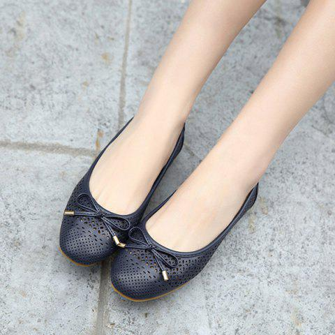 Best Bow Hollow Out Flat Shoes - 41 DEEP BLUE Mobile