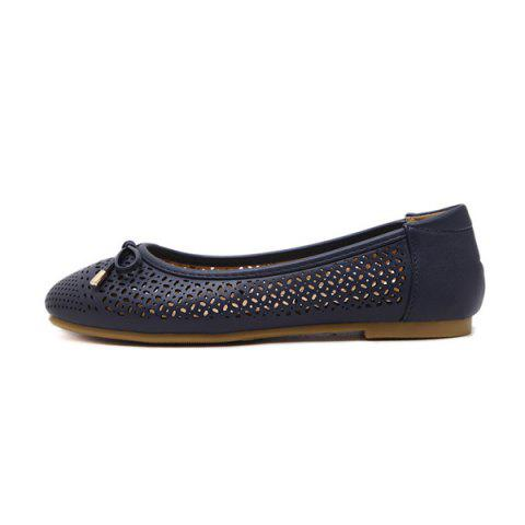 Latest Bow Hollow Out Flat Shoes - 41 DEEP BLUE Mobile