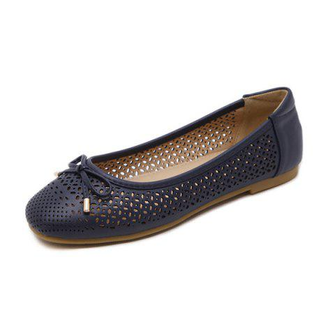 Online Bow Hollow Out Flat Shoes - 41 DEEP BLUE Mobile