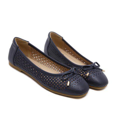 Bow Hollow Out Flat Shoes - Deep Blue - 38