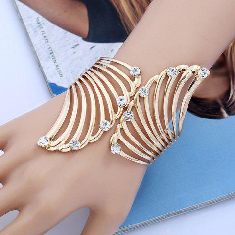 Rhinestone Alloy Angel Wings Bracelet - Golden