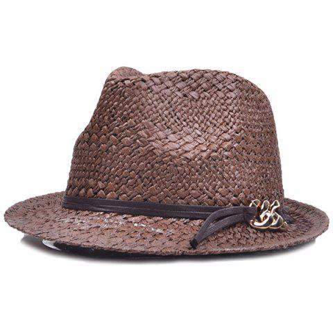 New Chain PU Straps Embellished Straw Jazz Hat COFFEE