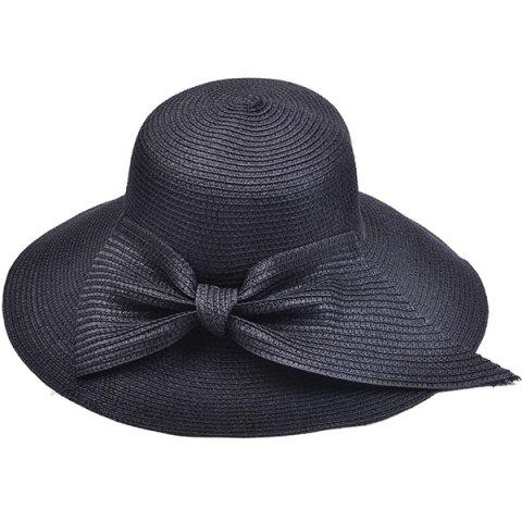 Trendy Large Bowknot Embellished Brimmed Straw Bucket Hat
