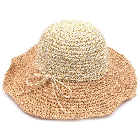 Chic Color Block Beach Straw Fedora Hat with Flouncing