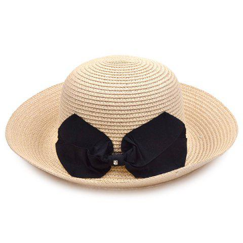 Flanging Bowknot Bowler Straw Hat - LIGHT KHAKI