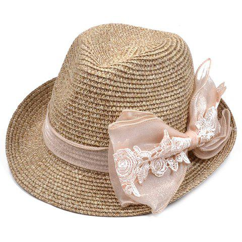 New Lace Bowknot Band Straw Fedora Hat