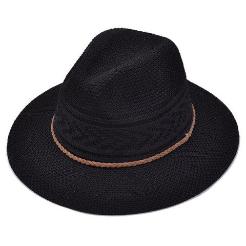 Discount Breathable Braided Rope Straw Jazz Hat BLACK