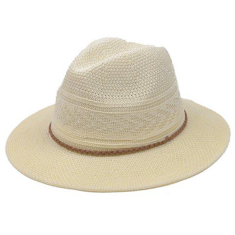 Fancy Breathable Braided Rope Straw Jazz Hat OFF-WHITE