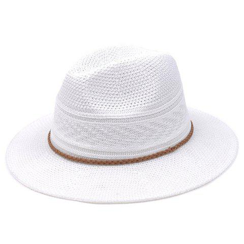 Breathable Braided Rope Straw Jazz Hat - WHITE