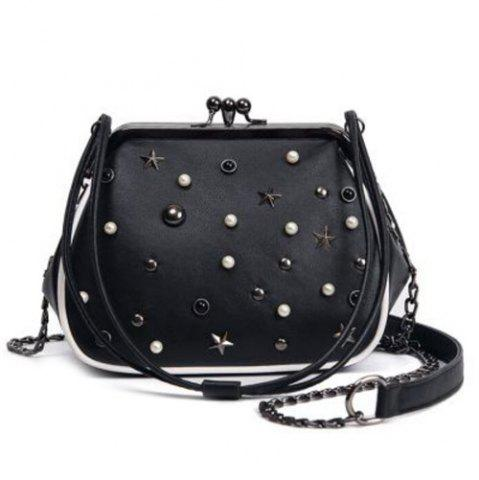Online Beaded Star Rivet Kisslock Cross Body Bag BLACK