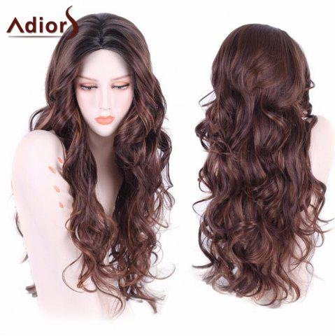 Outfits Adiors Long Wavy Middle Part Shaggy Synthetic Wig FLAX