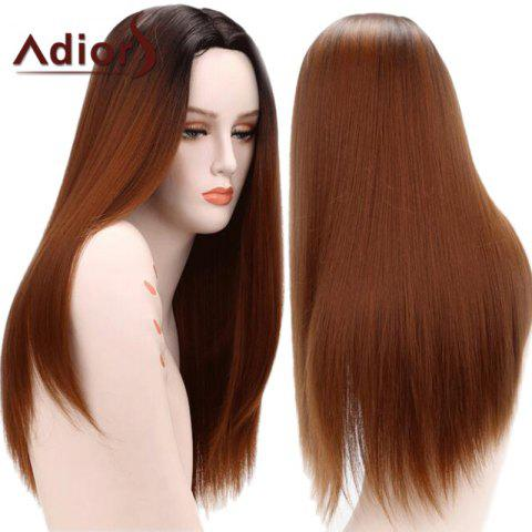 Adiors Gradient Long Straight Middle Part Synthetic Wig - Colormix