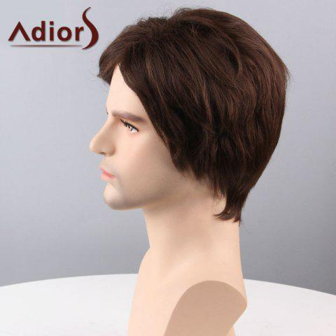 Online Adiors Hair Short Side Bang Straight Capless Synthetic Wig - BROWN  Mobile