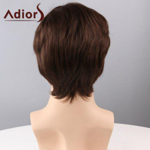 Latest Adiors Hair Short Side Bang Straight Capless Synthetic Wig - BROWN  Mobile