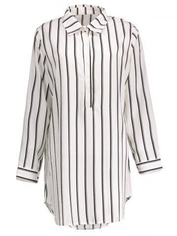 Latest Plus Size Striped Linen Short Tunic Shirt Dress WHITE 3XL