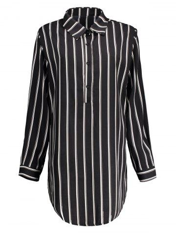 Online Plus Size Striped Long Sleeve Tunic Shirt Dress