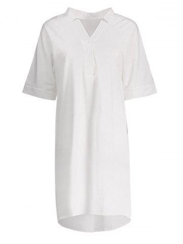 Best Plus Size V Neck Chiffon Dress WHITE 4XL